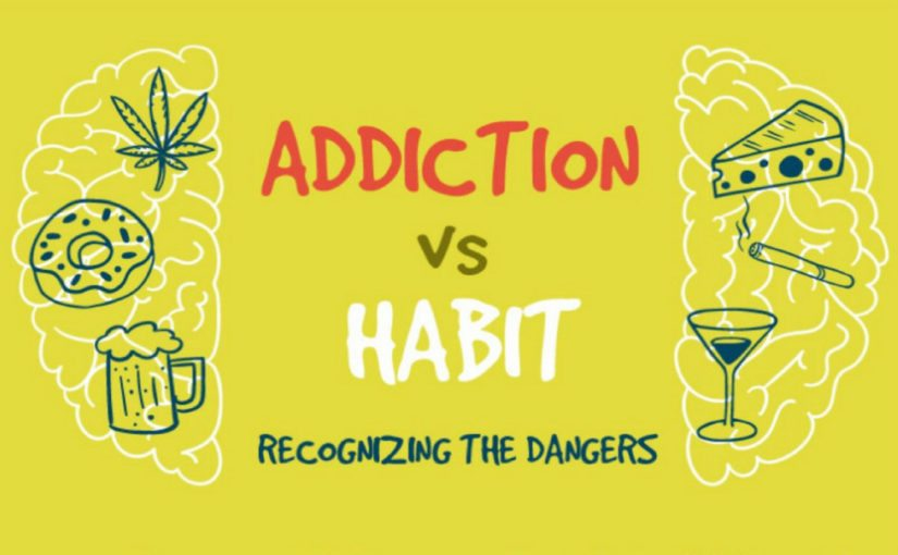 A preview of an infographic that outlines the research on and differences between addiction and habit. CC BY 3.0