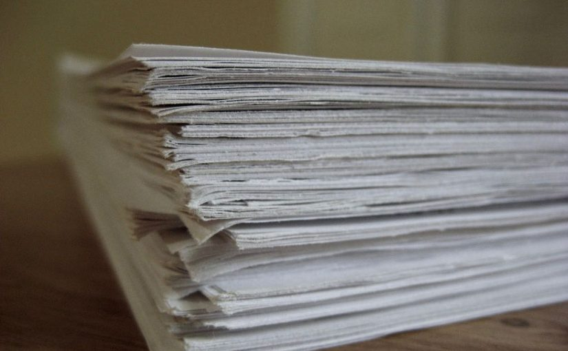 "A picture of a pile of papers from Nick Byrd's ""Grade papers quickly with shorthand"" post"