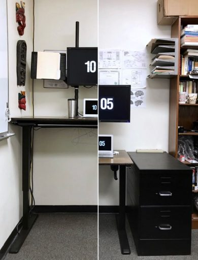 A picture of Nick Byrd's height-adjustable desk in at both the sitting and standing height.