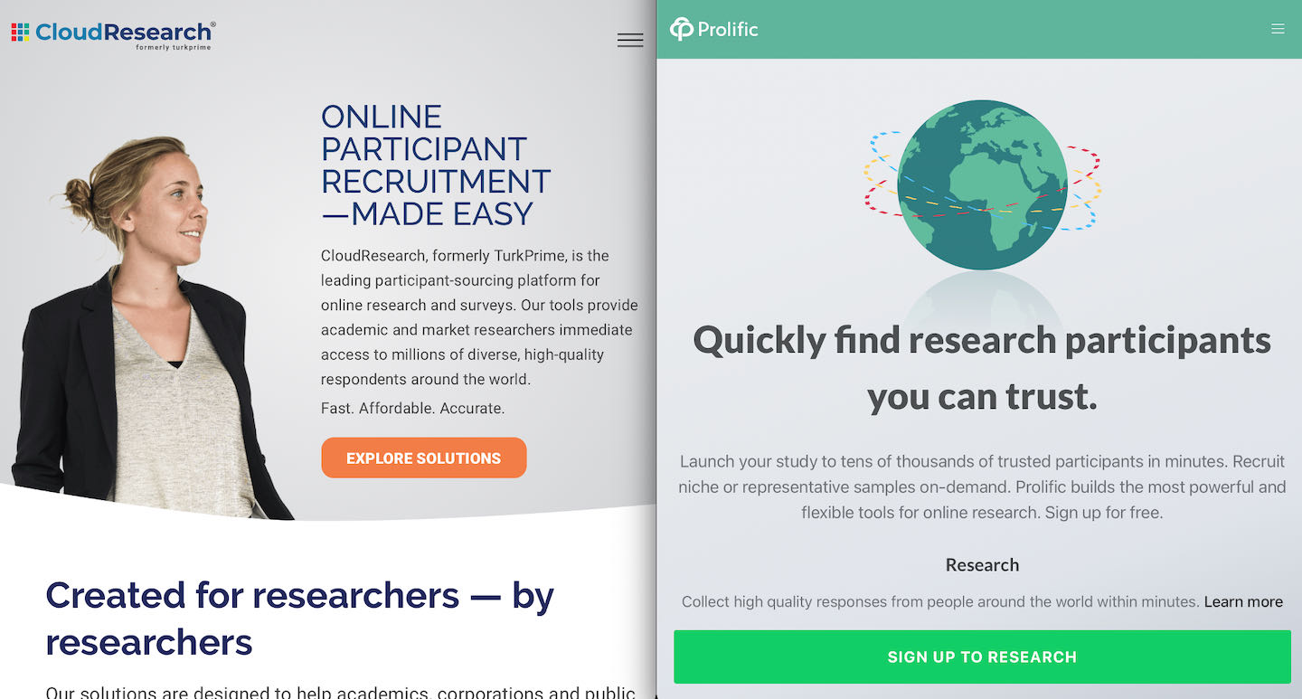 Screenshots of CloudResearch and Prolific websites.